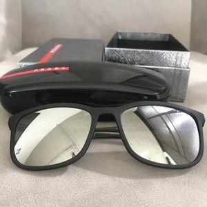 90fa33bbe0 Prada Accessories - Prada Sport SPS 01T DG0 Black Mirrored Sunnies